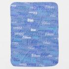 custom boy colour names, personalised blue baby blanket