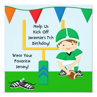 "Custom Boy in Green Football Birthday Invitation 5.25"" Square Invitation Card"
