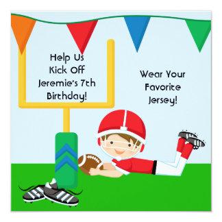 "Custom Boy in RedFootball Birthday Invitation 5.25"" Square Invitation Card"