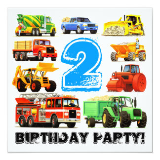 Custom Boy's 2nd Birthday Construction Truck Party 13 Cm X 13 Cm Square Invitation Card