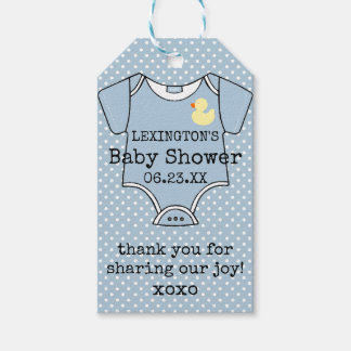 Custom Boys Baby Shower Thank You With Footprints Gift Tags