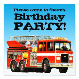 Custom Boy's Birthday Fire Truck Party 13 Cm X 13 Cm Square Invitation Card