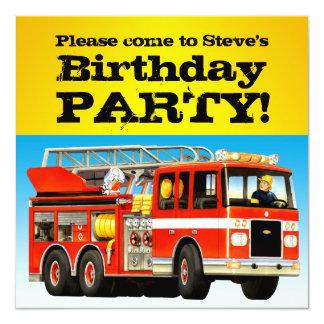 Custom Boy's Birthday Firetruck Party 13 Cm X 13 Cm Square Invitation Card