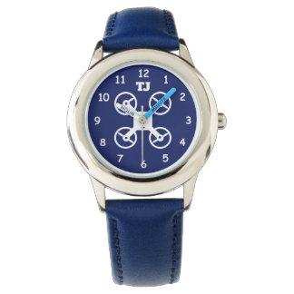 Custom boy's watch with monogram and drone logo