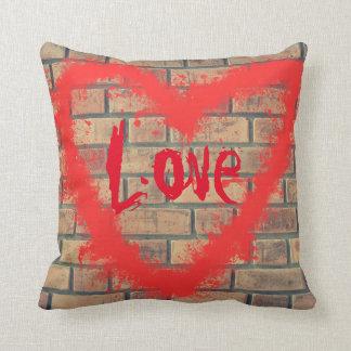 Custom Brick Wall Graffiti Heart Throw Pillow