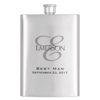 Custom Bridal Party | Chic Script Wedding Keepsake Hip Flask