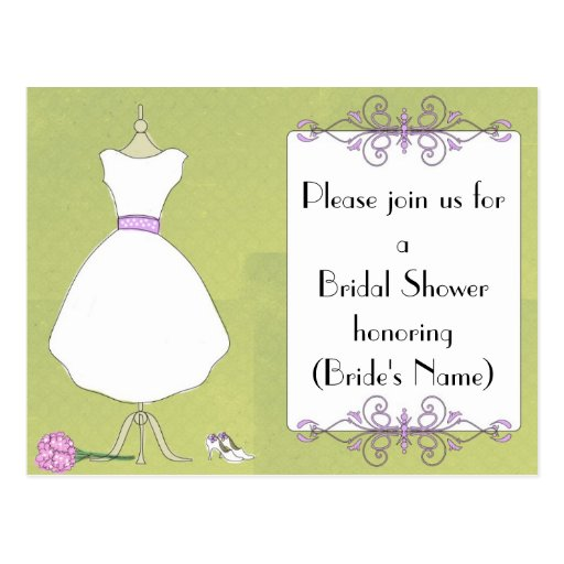 Custom bridal shower invitation chic dress form postcard for Zazzle custom t shirts