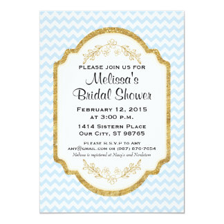Custom Bridal Shower Invite, Blue Chevron, Gold Card