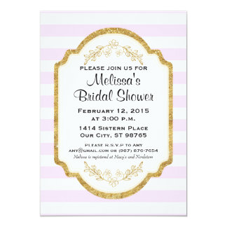 Custom Bridal Shower Invite, Pink Stripes, Gold Card