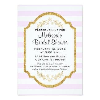 Custom Bridal Shower Invite, Pink Stripes, Gold Card