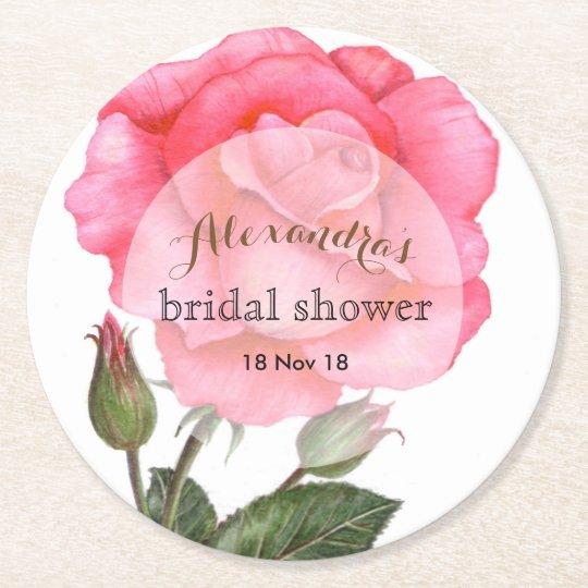 Custom Bridal Shower Pink Rose Coaster