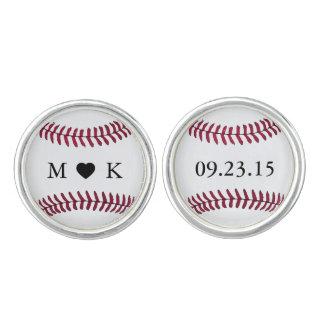 Custom Bride and Groom Monogram Baseball Cuff Links