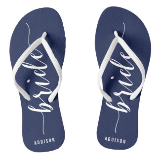 Custom Bride Navy Blue Wedding Party Flip Flops