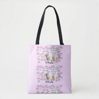 Custom Bride's Pink & White Wedding Tote Bag