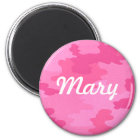 Custom Bright Pink Camouflage Magnet