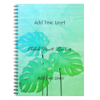 Custom Bright Watercolor Leaf Mint Green Notebook