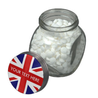 Custom British Union Jack flag glass candy jar