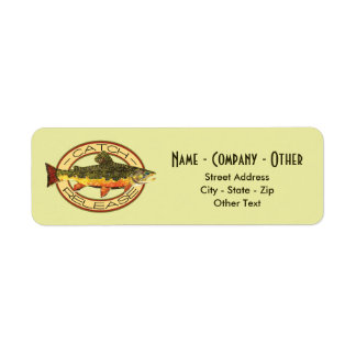 Custom Brook Trout Fly Fishing Catch & Release Return Address Label