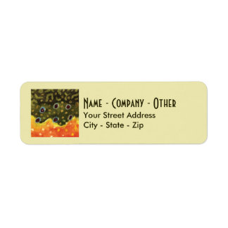 Custom Brook Trout Fly Fishing Return Address Label