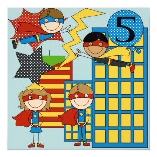 Custom Brown Hair Boy Super Hero Birthday Invites