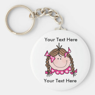 Custom Brown Hair Girl Keychain