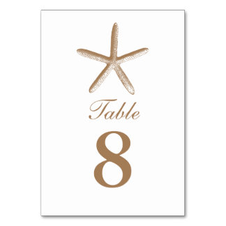 Custom Brown Starfish Beach Wedding Table Numbers