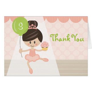 Custom Brunette Ballerina Birthday Thank You Cards