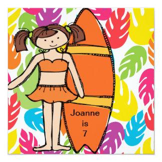Custom Brunette Girl Surfer Birthday Invites