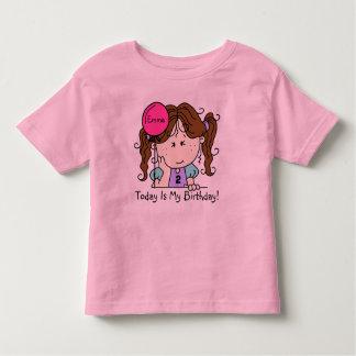 Custom Brunette Girl With Balloon Birthday T-shirt