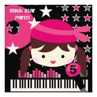 Custom Brunette  Rock Star Birthday Invitations