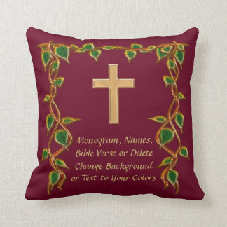 Custom Burgundy and Gold Cross Scripture Pillows
