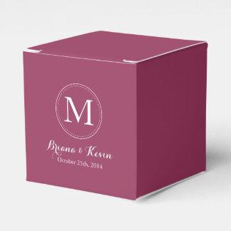 Custom Burgundy Colored Monogram Favor Boxes