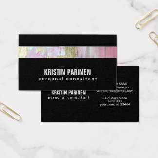 Custom Business Card Pink Pastel Gold Stripe