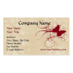 Custom Business Card, Red Cream Butterfly Design