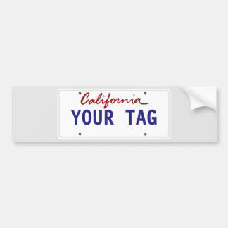 Custom California License Plate Bumper Sticker
