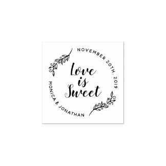 Custom Calligraphy Love Is Sweet Botanical Wedding Rubber Stamp