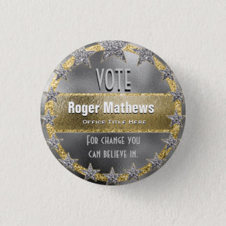 Custom Campaign Template Silver and Gold 3 Cm Round Badge