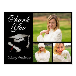 Custom Cap Graduation Thank You Card 3 Photos