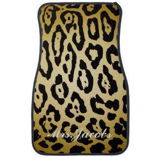 Custom Car Floor Mats - Leopard Name