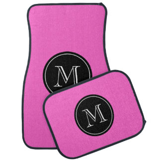Custom car mat set in hot pink with monogram name