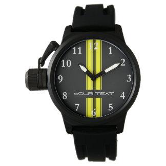 Custom Car Watch - Racing Stripes Yellow