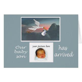 Custom card, new baby announcement, stork card