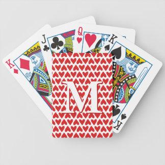 Custom Cards - Red White Valentine Hearts Monogram