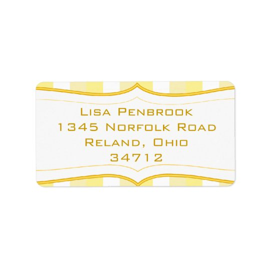 Custom Casual Yellow Stripe Address Label