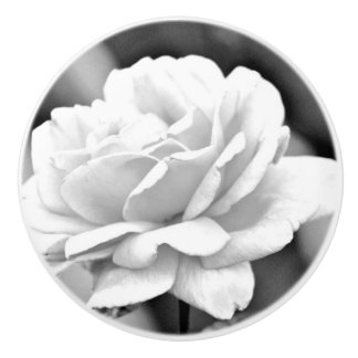 "Custom Ceramic Knob ""White Rose on Black"""