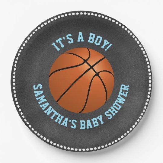 Custom Chalkboard Basketball Baby Shower Paper Paper Plate
