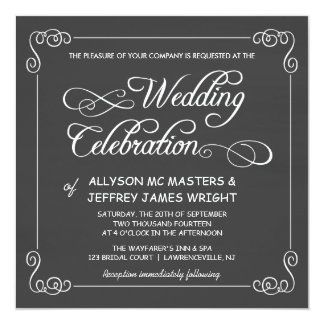 Custom Chalkboard Wedding Invitations