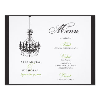 :custom: Chandelier Wedding Reception Menu Card