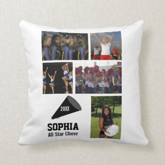 Custom Cheerleading Photo Collage Name Team Year Cushion