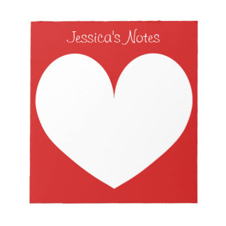 Custom cherry red heart shape writing note pads